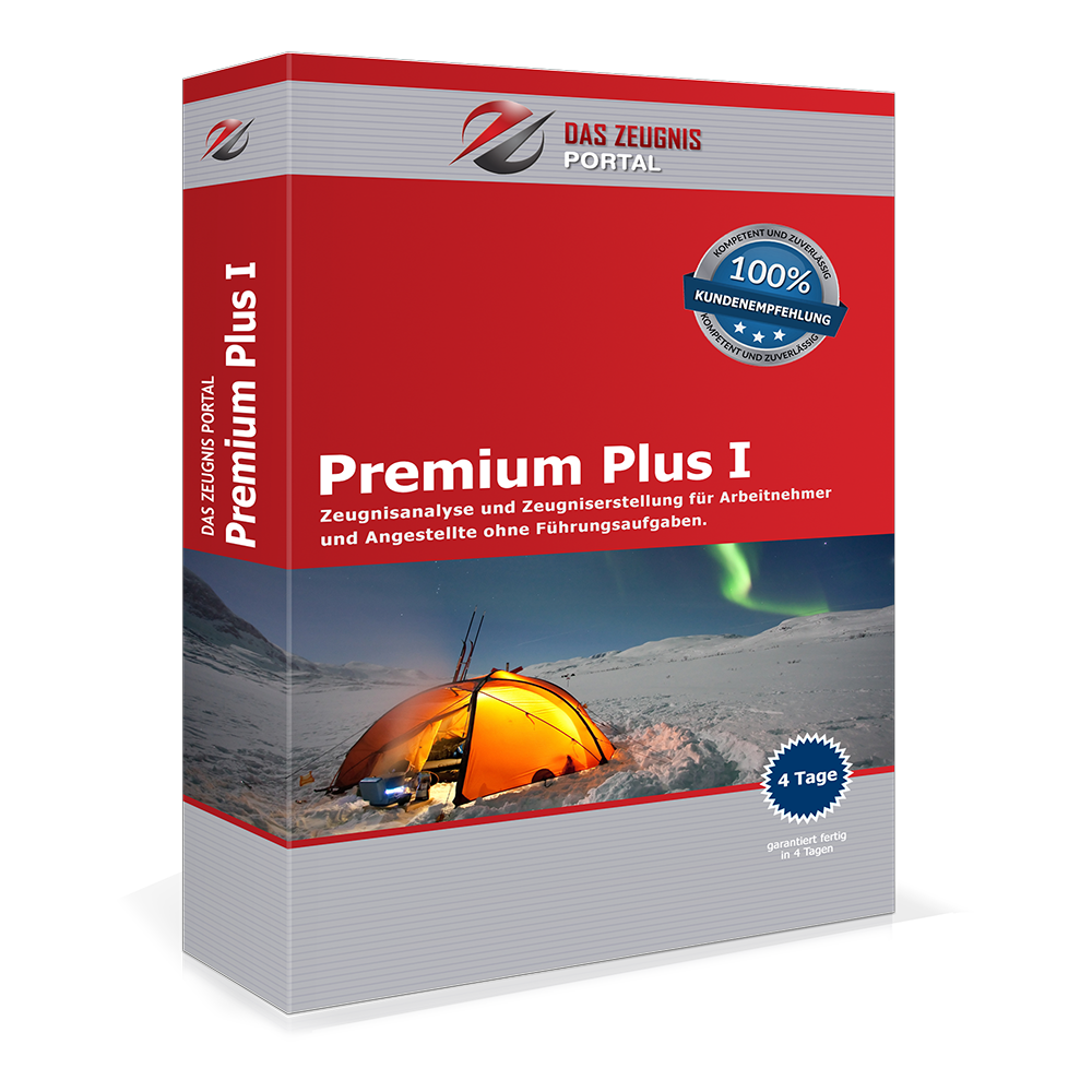 Premium Plus I - Zeugnisanalyse und Zeugniserstellung für Arbeitnehmer und Angestellte ohne Führungsaufgaben.