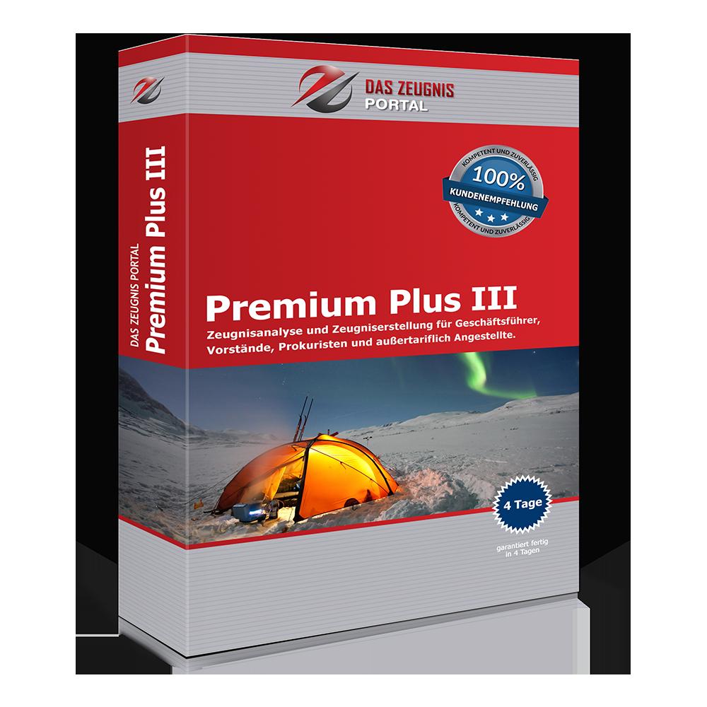 Premium Plus III - Zeugnisanalyse und Zeugniserstellung für Geschäftsführer, Vorstände, Prokuristen und außertariflich Angestellte.