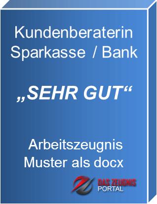 Musterzeugnis Kundenberaterin Sparkasse Note 2
